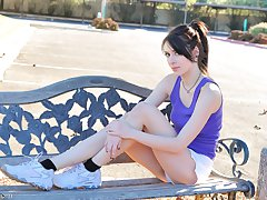Aiden does fitness outdoors nude and runs